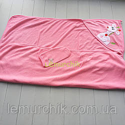 Полотенце-уголок с капюшоном пищалкой+варежка Bebellove, розовое
