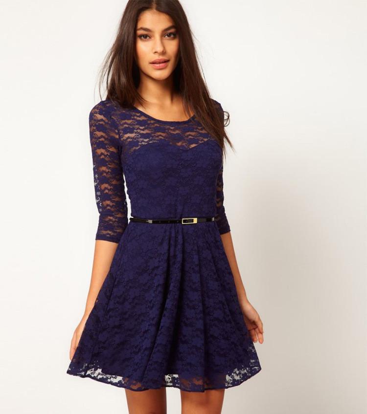 Кружевное платье синий цвет (пояс в комплекте)