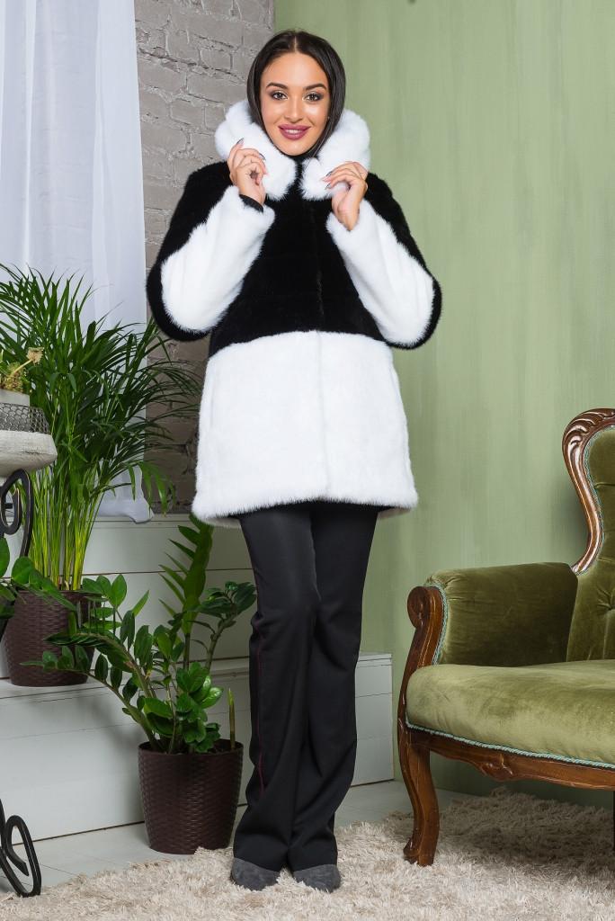 Шуба женская из искусственного меха 2-034 черно-белая