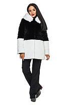 Шуба женская из искусственного меха 2-034 черно-белая, фото 2
