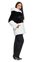 Шуба женская из искусственного меха 2-034 черно-белая, фото 3