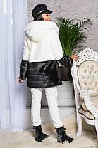 Шуба женская из искусственного меха 2-034 бело-шоколадная, фото 2