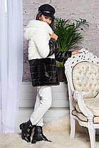 Шуба женская из искусственного меха 2-034 бело-шоколадная, фото 3