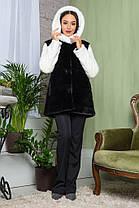 Шуба женская из эко меха 2-064 черная, фото 2