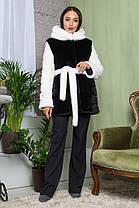 Шуба женская из эко меха 2-064 черная, фото 3