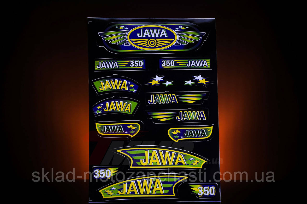 """Наклейка """"JAWA"""" (15шт, чорний)"""