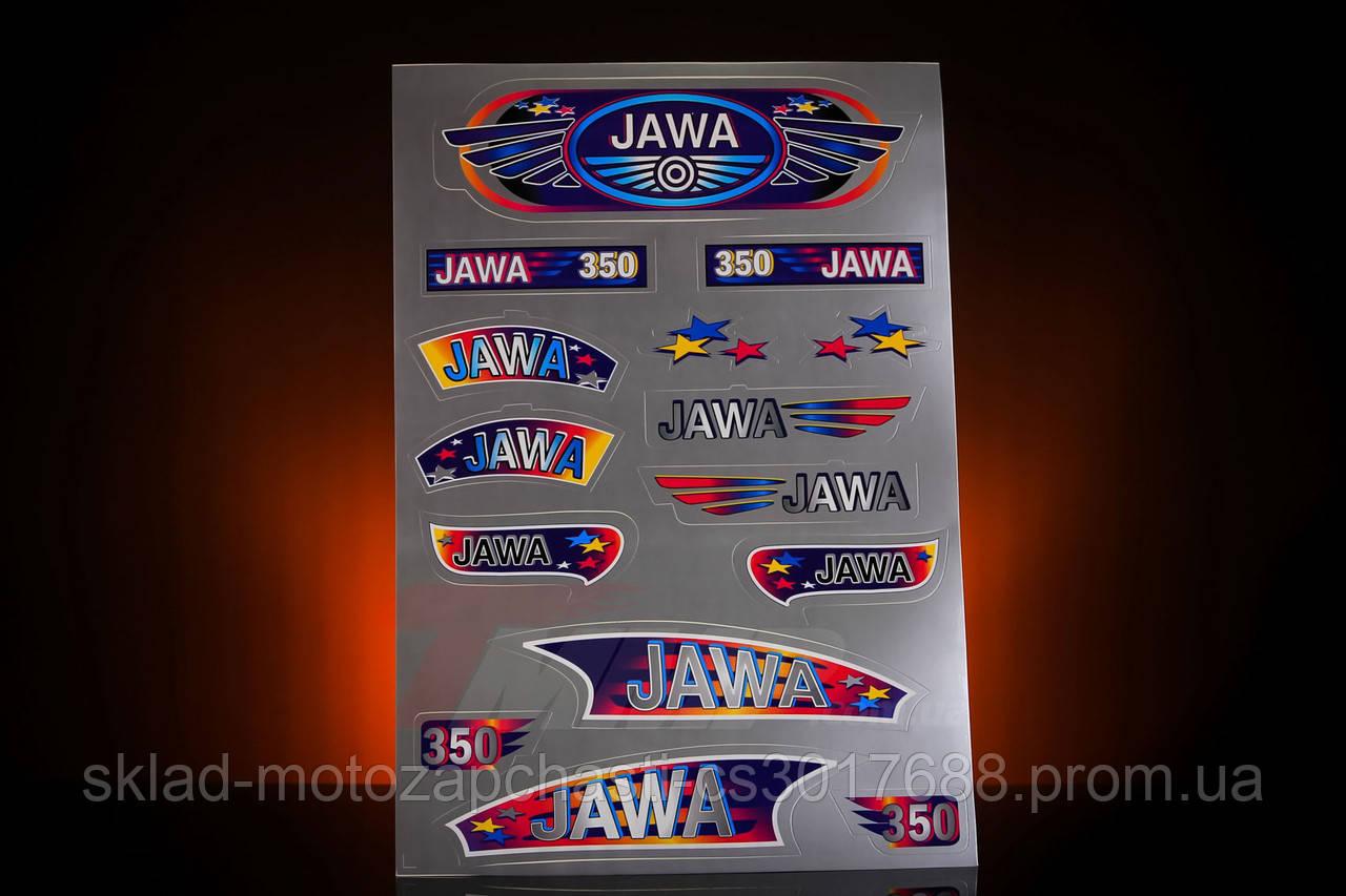 """Наклейка """"JAWA"""" (15шт, сірий)"""