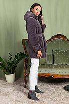 Шуба женская из эко меха 2-081 графит, фото 2