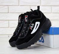 b3d6bb2d4 Женские кроссовки Fila Disruptor II (черные) - F03 (Вьетнам, замша) 100