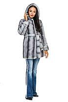 Шуба женская из искусственного меха 2-082 серая, фото 2