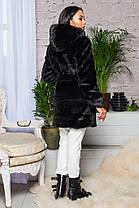 Шуба женская  из эко меха 2-084 черная, фото 3