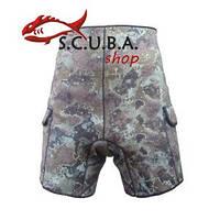 Неопреновые шорты для подводной охоты MARLIN Camo Green с карманами под груза 3 мм