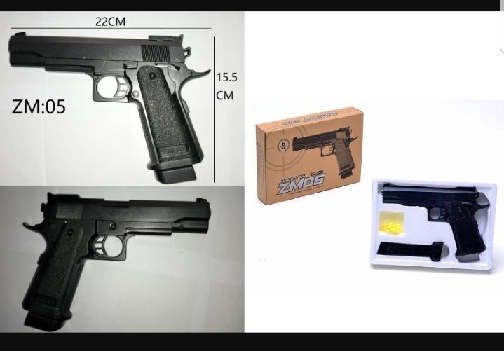 Пистолет Металлический ZM 05 с магазином и пульками , 22*16 см
