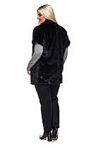 Жилет из эко меха 021 черный Размеры: 42, 44, 46, 48, 50, 52, 54, фото 3