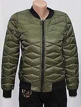Куртка осенняя женская, с утеплителем, на молнии, хаки