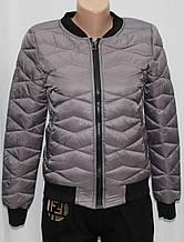 Куртка осенняя женская, с утеплителем, на молнии, серая