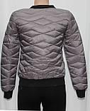Куртка осенняя женская, с утеплителем, на молнии, серая, фото 3