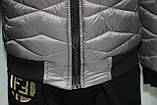 Куртка осенняя женская, с утеплителем, на молнии, серая, фото 7