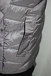 Куртка осенняя женская, с утеплителем, на молнии, серая, фото 8