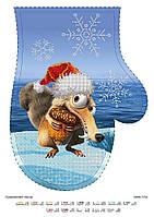 """Новогодняя перчатка """"Ледниковый период"""", схема для вышивки бисером"""