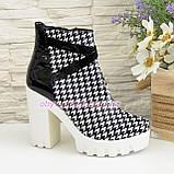 """Женские демисезонные ботинки на белой тракторной подошве, кожа """"гуси"""", фото 2"""