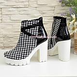 """Женские демисезонные ботинки на белой тракторной подошве, кожа """"гуси"""", фото 3"""
