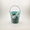 Відерце декоративне ніжно-блакитне з стрічкою, 10 см