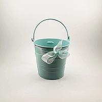 Ведёрко декоративное нежно-голубое с лентой, 10 см, фото 1