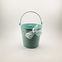 Відерце декоративне ніжно-блакитне з стрічкою, 10 см, фото 1