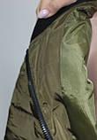 Куртка осенняя женская, с утеплителем, на молнии, хаки, с пчелой, фото 4
