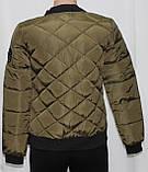 Куртка осенняя женская, с утеплителем, на молнии, хаки, с пчелой, фото 3