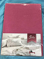 Махровая простынь на резинке 160*200 Турция Sefa цвет Малиновый, фото 1