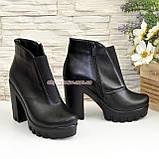 Демисезонные женские кожаные ботильоны на высоком каблуке, фото 3