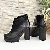 Демисезонные женские кожаные ботильоны на высоком каблуке, фото 4