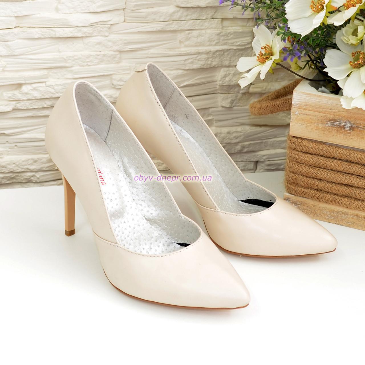 Классические женские кожаные туфли на шпильке, цвет бежевый