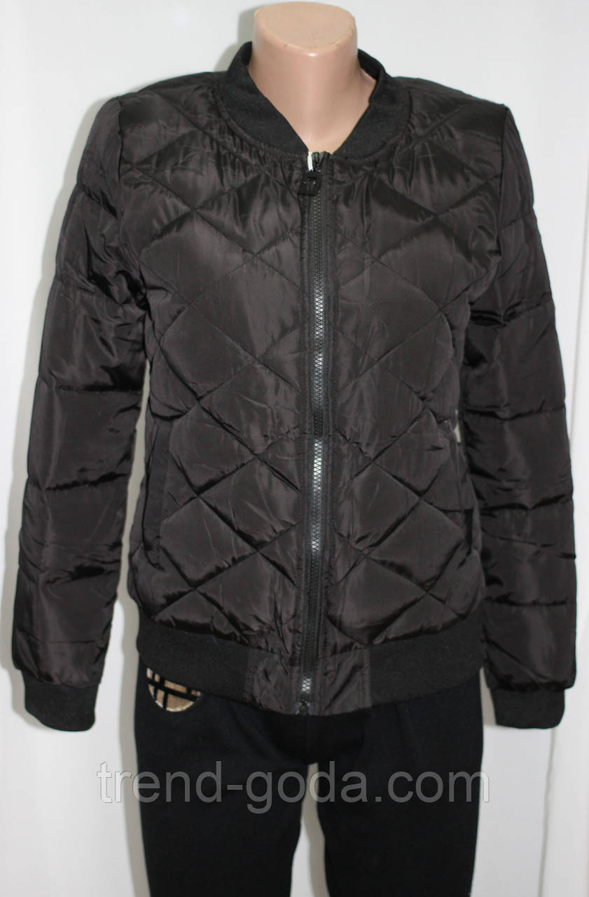 Куртка осенняя женская, с утеплителем, на молнии, черная, с пчелой