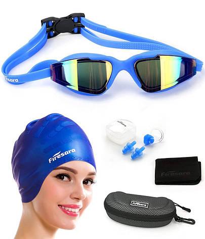 Набор для  плавания 4 в 1 (очки + шапочка + беруши + зажим для носа), фото 2