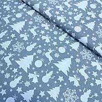 Ткань со снежинками, ёлками, оленями, снеговиками и колокольчиками на сером фоне, ширина 160 см