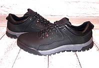 Мужские кожаные туфли Ecco закрытые на шнурках черные 0050ЕМ