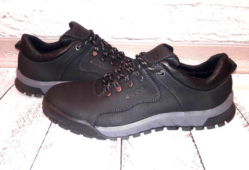 Мужские кожаные туфли Ecco закрытые на шнурках черные 0050ЕМ ... 042852e7383f5