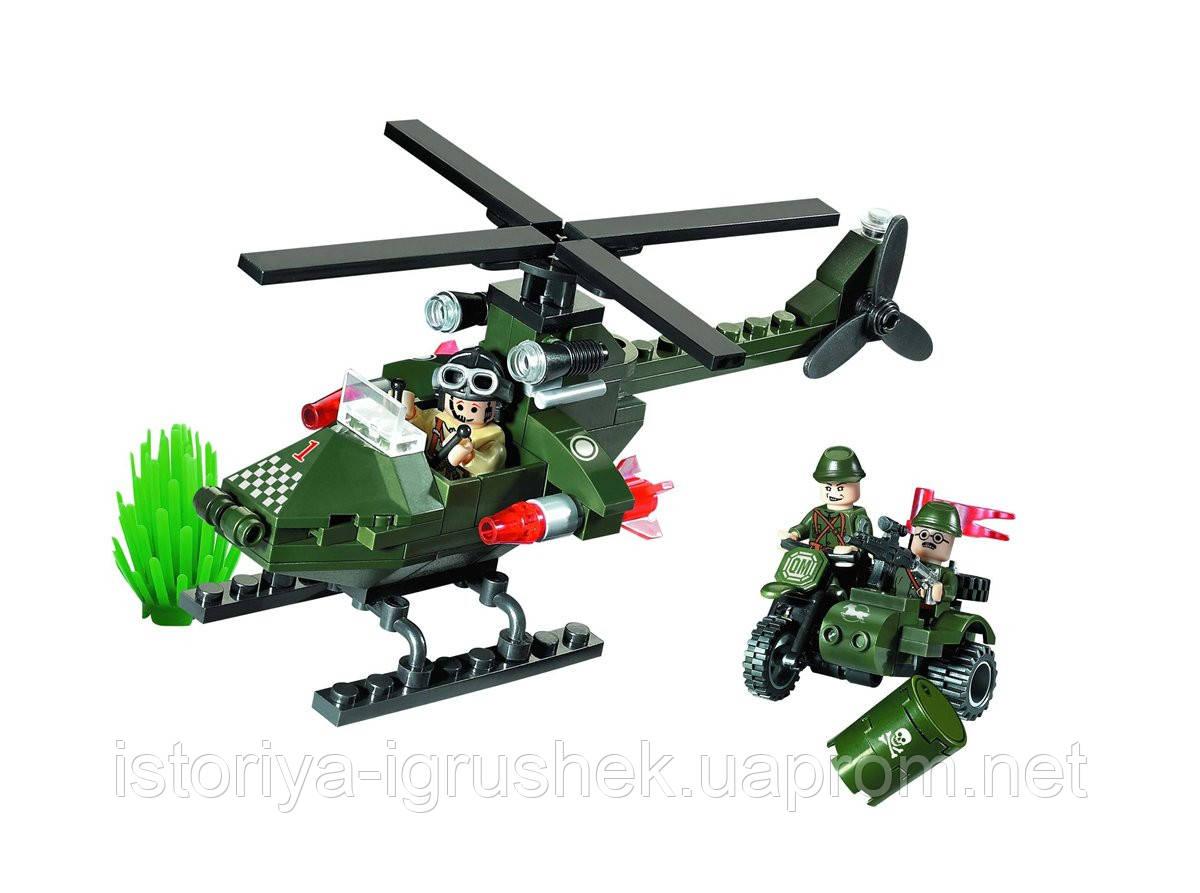 Конструктор Combat Zones - 806 военный вертолет и мотоцикл, Brick, 119