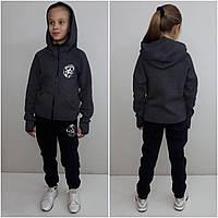 Теплый спортивный костюм для девочки Converse с перчаткой антрацит, фото 1