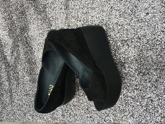 Черные замшевые туфли на платформе с открытым носком 36-40 р, фото 2
