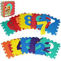 Коврик Мозаика M 2608  EVA, цифры, 10дет(10мм,31,5-31,5см), массажн, 6текстур, пазл, 31,5-31,5-10см