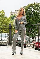 Женский костюм тройка / трикотаж шерсть, гипюр / Украина 40-2149, фото 1