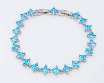 XUPING Браслет Родий с голубыми квадратными цирконами Ширина 7мм  Длина 18,5+1,5см (доп звено)