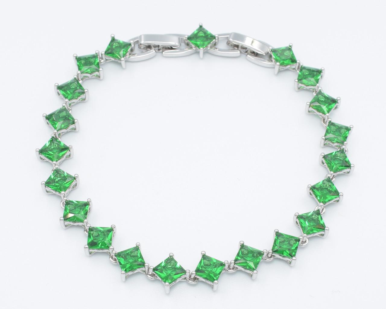 XUPING Браслет Родий с зелеными квадратными цирконами Ширина 7мм  Длина 18,5+1,5см (доп звено)