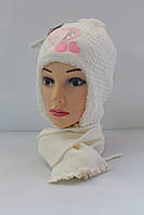 Шапка детская зимняя на меху с шарфом, фото 1