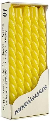 Свеча витая Bispol 24.5 см 10 шт цвет лимонный (20-015)