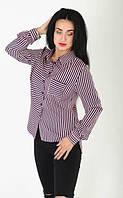 Женская классическая рубашка из однотонного софта в полоску, фото 1